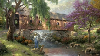 fisherman, art, thomas kinkade, nature, painting, bridge, Old fishin hole, river, duck