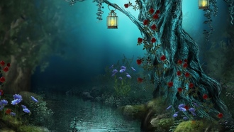 nature, lamps, night, roses, forest, flowers, Fantasy, red roses, river, лес, цветы