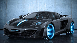 чёрный, Meclaren, макларен, mp4-12c, mclaren, black, tron, карбон, tr2n