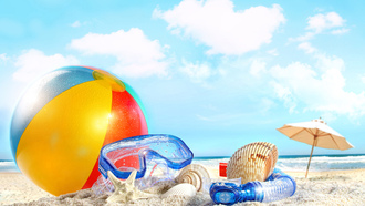 небо, море, sea, облака, sky, Shells, пляж, sand, nature, ball, beach, clouds