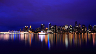 канада, reflection, british columbia, Canada, vancouver, night city, river, lights