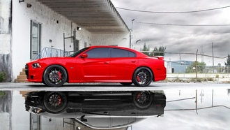 Dodge, srt8, reflection, puddle, небо, чарджер, charger, додж, срт8, miami, red