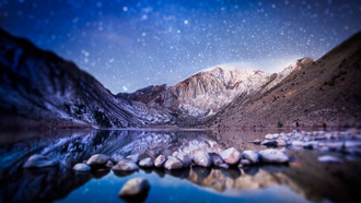 ночь, convict lake, Горы, sierra nevada in california, тилт шифт, боке, usa