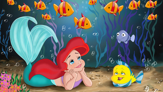 childhood, The little mermaid, princess, sea, pretty child, fanart, fish, ariel, movie, walt disney