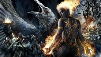 tattoo, girl, fire, skeletons, game wallpapers, raven, Dungeon siege 3, warriors, swords, darkness