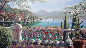 bellagio, боб пейман, живопись, Terrace in bellagio, italy, bob pejman