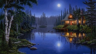 light, forest, night, painting, Moonlight serenade, lake, moonlight, house, mark daehlin, moon