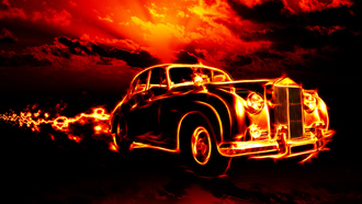 ghost rider, clouds, flame, red sky, city, classic, car, smoke, Fire, creepy, horror, hell