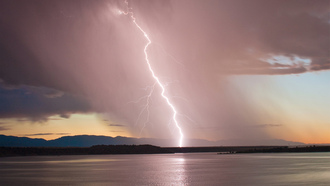 колорадо, Usa, storm, озеро, evening, lightning, colorado, sunset, lake, сша, sky