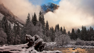 иней, Природа, калифорния, снег, yosemite national park, горы