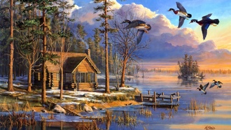 Spring arrivals, sunrise, ducks, spring, lake, house, forest, painting, flying, mary pettis