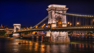 река, огни, Будапешт, ночь, мост, chain bridge, залив, фонари