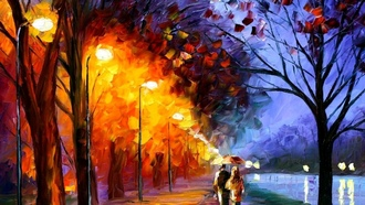 a walk along the embankment, leonid afremov