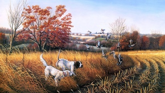 bird dog country, осень, john s. eberhardt, живопись