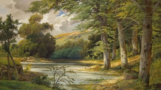 alois arnegger, живопись, romantic forest landscape