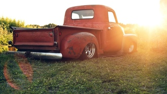 chevrolet, pickup, bagged, chevy, солнце, stance, трава