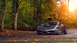 green, ferrari, 430, autumn, sun, tuning, silver, wheels, leaf, trees