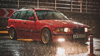 e36, bbs, touring, red, bmw, дождь