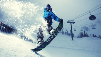 snow, sport, snowboard, lift, mountains, trees, extreme, snowboard