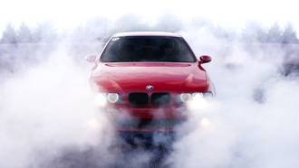 BMW 5 Series, smoke, BMW 5-й серии, burnout, дым, выгорание
