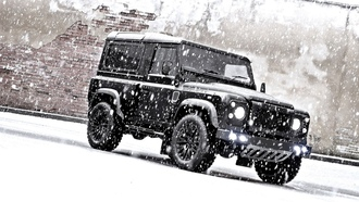 winter, автомобили, cars, Land Rover Defender, Зимой