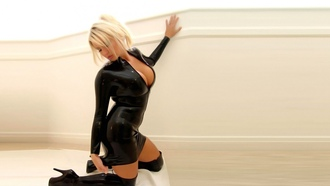 sexy, blonde, passion, latex, boots, pose, model, woman