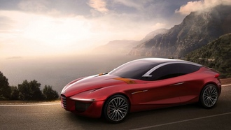 concept car, alfa romeo, bay, gloria-c, road, red car