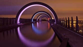 falkirk, city, united kingdom, scotland, night, great britain, lights