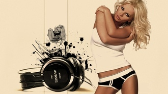 desislava, singer, blonde, boxers, headphones, pop music