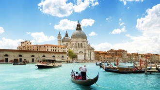 собор, Italy, blue skies, boats, озера, lakes, Венеция, голубое небо, Архитектура, Лодки, cathedral, Venice, architecture, Италия