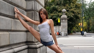 woman, dance, brunettes, sexy, wall