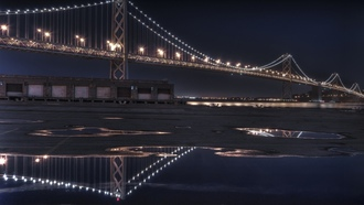 мосты, Bay Bridge, bridges, ночь, night