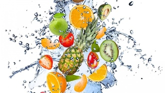 drops, spray, apple, fruits, avocado, kiwi, lemon, fresh, water
