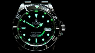 green, dark, clock, metal, rolex