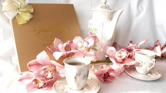 orchid, cups, flowers