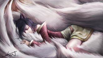 Арт, спит, девушка, ahri , league of legends, сон, хвосты