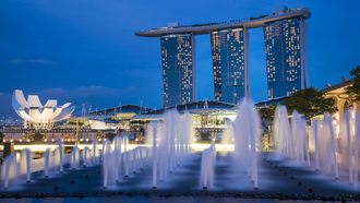 night, skyscrapers, Singapore, fountains, lights, blue, gardens by the bay, sky, architecture