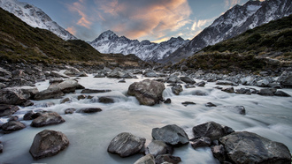 река, Hooker river, mount cook national park, new zealand, новая зеландия
