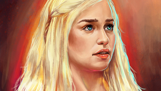 арт, живопись, game of thrones, Daenerys targaryen, emilia clarke, девушка