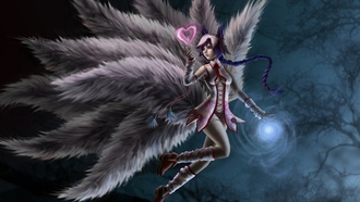 Арт, хвосты, ahri, девушка, league of legends, сердечко