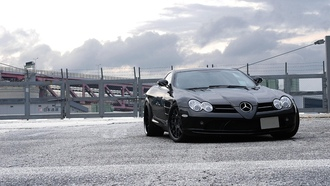 Mercedes benz, black, clouds, slr mclaren, макларен, sky, мерседес бенц