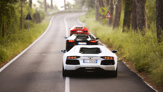 red, three, Lamborghini aventador, mix, road, black, white, trees, lp700-4