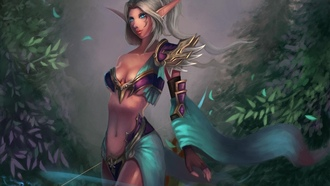 уши, wow, hunter, девушка, Арт, лук, world of warcraft, cheng guang, night elf