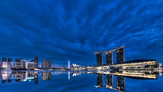 skyscrapers, lights, gardens by the bay, bay, blue sky, Singapore, clouds, architecture, night