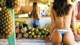 bananas, market, pineapple, kind, landscape, blue, fruit, thong