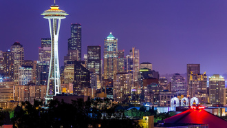 night, sky, сша, space needle, lights, washington, seattle, city, usa, violet
