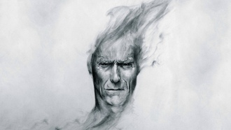 клинт иствуд, голова, art, clint eastwood, вгляд