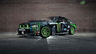 ford, mustang, competition, sportcar, monster energy, vaughn gittin jr, drift, rtr, black, team