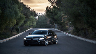 benz, black, auto, mecedes, wallpapers, c219, tuning, amg, cls, 63, vossen