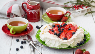 tea, blueberries, яблоки, еда, apples, десерт, drink , food, cream, dessert